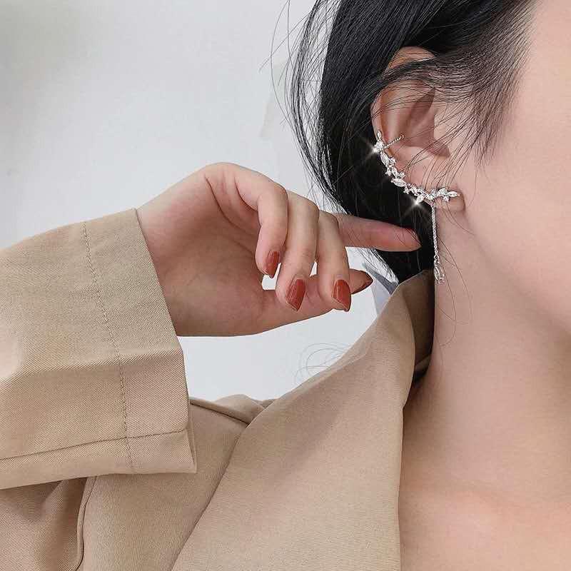 bông tai bạc 925 Lá liễu pha lê Tai kẹp xương Thiết kế mới 2020 hot Hàn Quốc