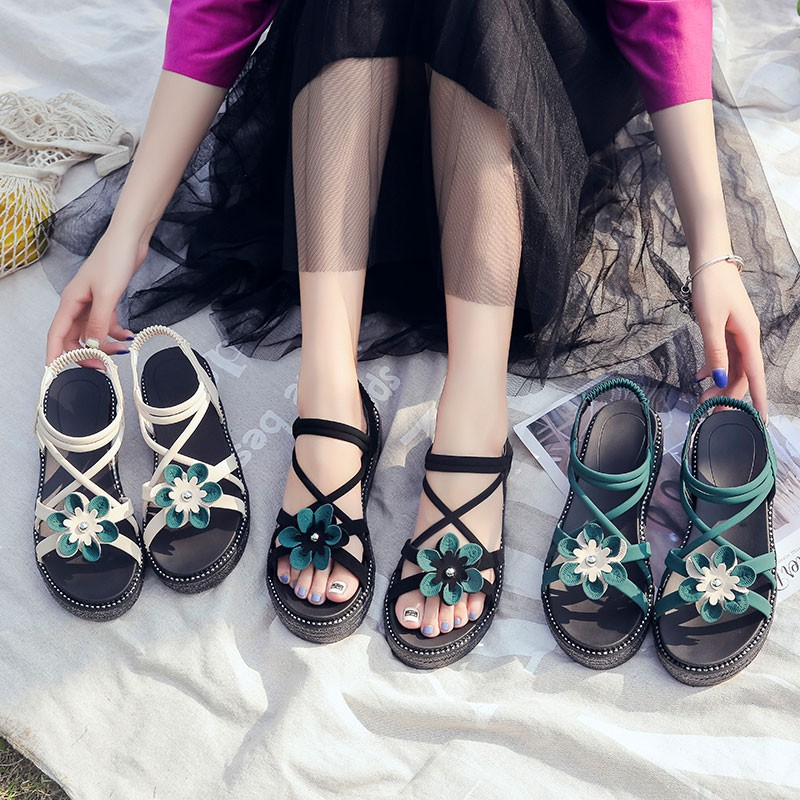 Thick-soled sandals female muffin ladies sandals student women's shoes