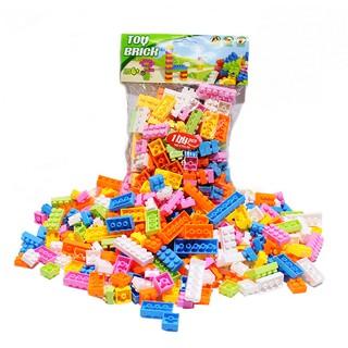 Bộ 144 khối lắp ghép bằng nhựa nhiều màu sắc tươi sáng bắt mắt dành cho các bé