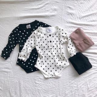 CLEARANCE SHOCK SALE Set áo liền quần họa tiết chấm bi kèm quần dài phong cách mùa thu cho bé gái