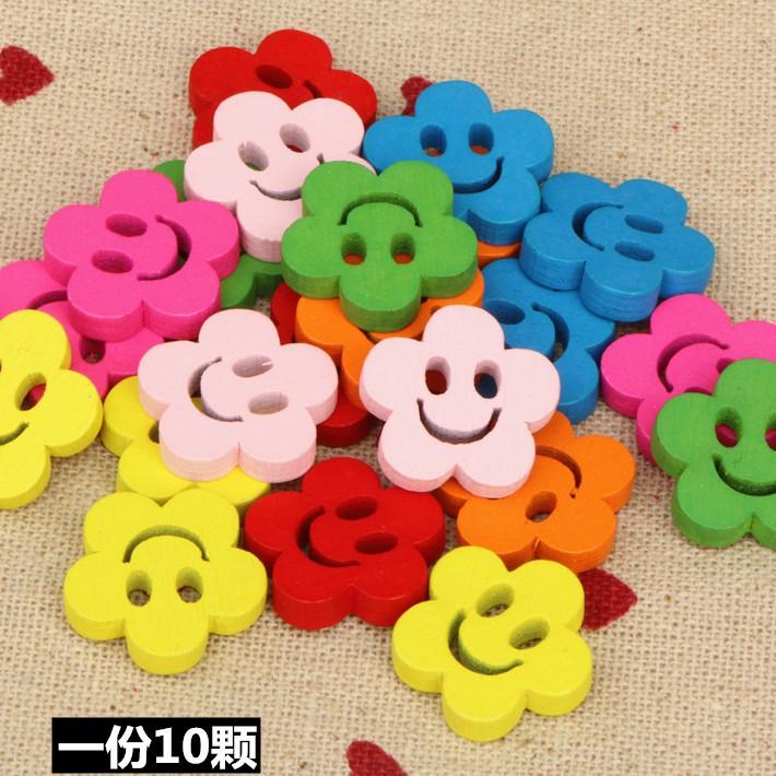 Set phụ kiện gỗ mặt cười hình hoa màu kẹo dùng để trang trí đa năng tiện dụng