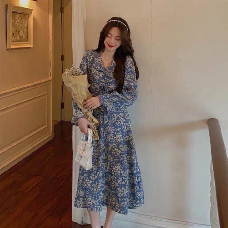 Đầm thời trang thiết kế - Hoa xanh dài tay