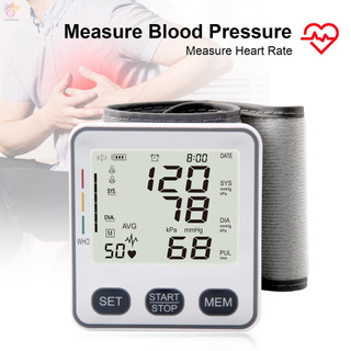 ET Wrist Type Electronic Blood-Pressure Monitor Digital LCD Blood-Pressure Measurement Meter Fully Automatic Sphygmomanometer with Heart Rate Detection