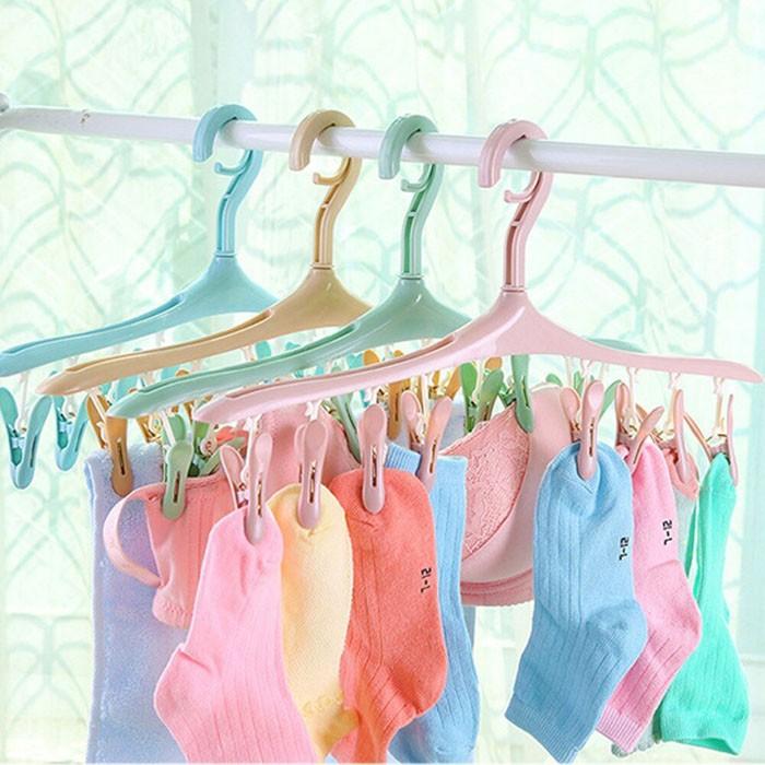 Móc phơi quần áo đa năng 8 kẹp - Móc phơi tất,quần lót