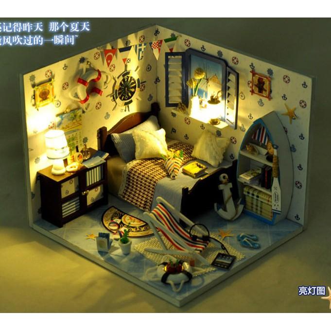 DIY Mô hình nhà mini phòng ngủ phong cách bãi biển mùa hè