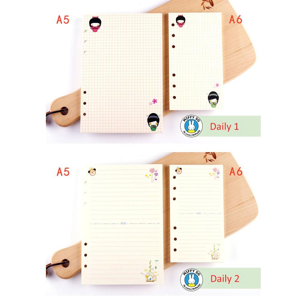 GIẤY REFILL 6 lỗ cho sổ còng/planner A5 và A6