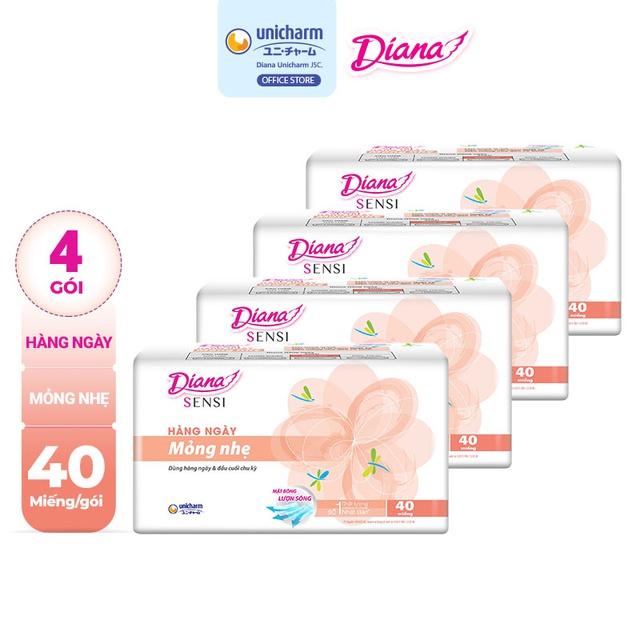 Bộ 4 gói Băng vệ sinh Diana hàng ngày Sensi Slim mỏng nhẹ gói 40 miếng