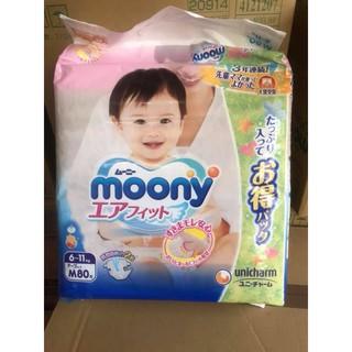 Bỉm nội địa Nhật Moony Jumbo sz NB114/S105/M80/M72/L56/Xl48
