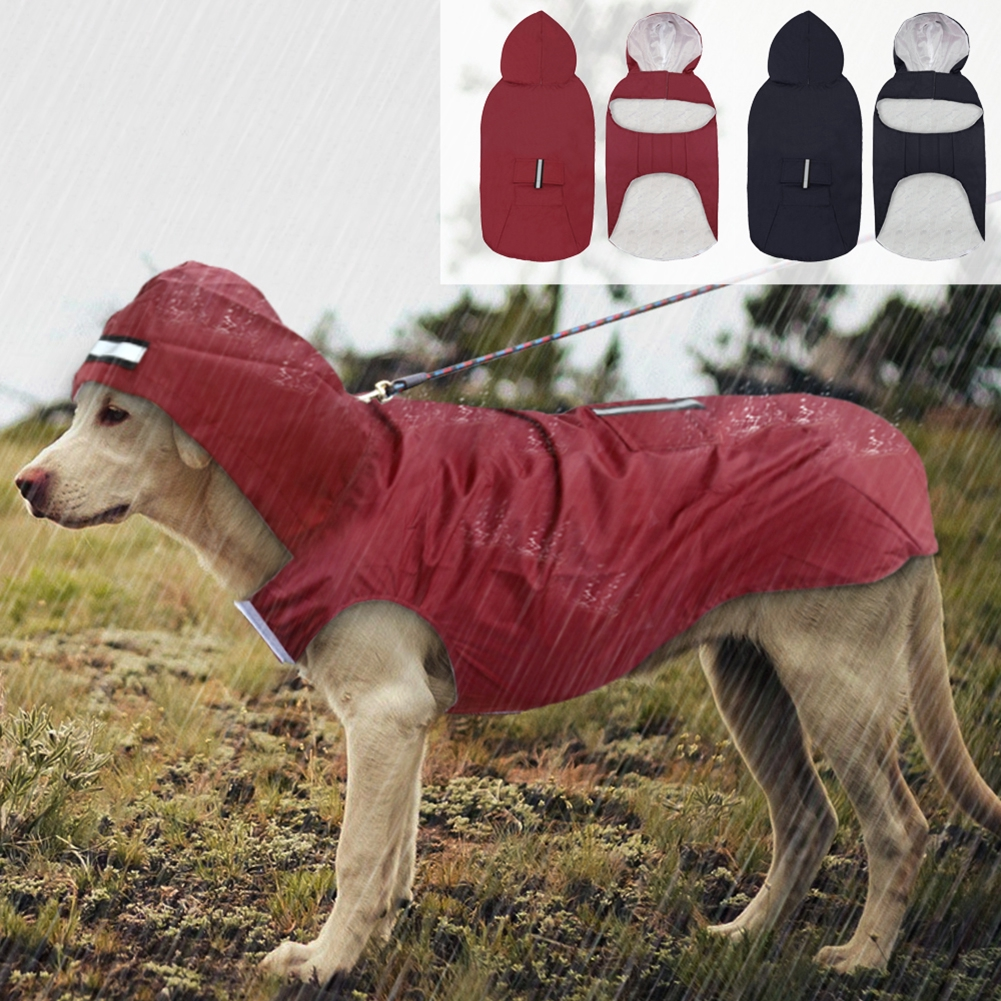 Outdoor With Hole Pet Supplies Hooded Durable Waterproof Breathable Wear Resistant Reflective Dog Raincoat