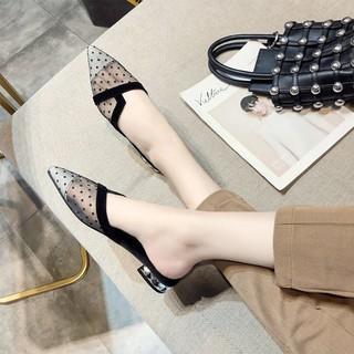 Giày nữ đế bằng phối lưới họa tiết chấm bi thời trang