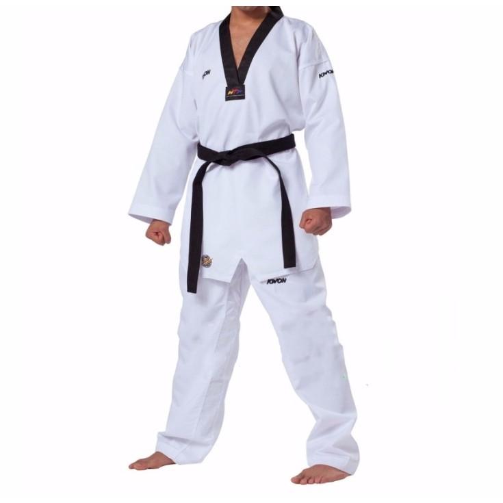 Quần áo võ phục taekwondo kwon fighter cổ đen cho Vận động viên, huấn luyện viên