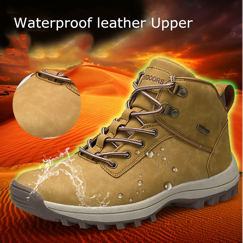 cf0a6f92742 Men Outdoor Slip Resistant Waterproof Lace Up Hiking Boots - Men ...