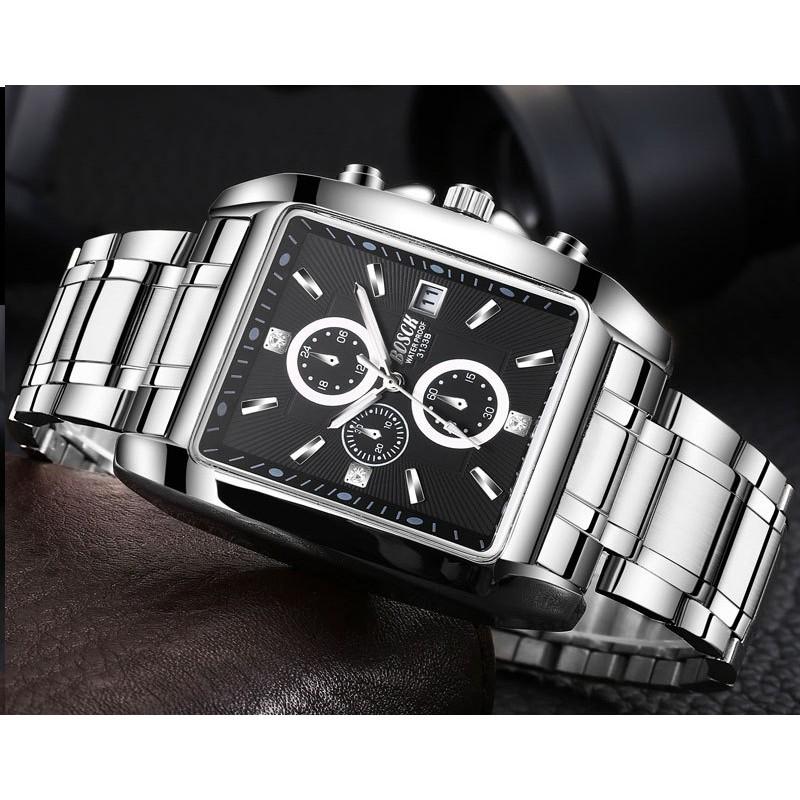 Đồng hồ nam BOSCK mặt chữ nhật dây thép không gỉ Phong cách Sporty có lịch ngày cao cấp Đồng hồ nam BOSCK mặt chữ nhật dây thép không gỉ Phong cách Sporty có lịch ngày cao cấp