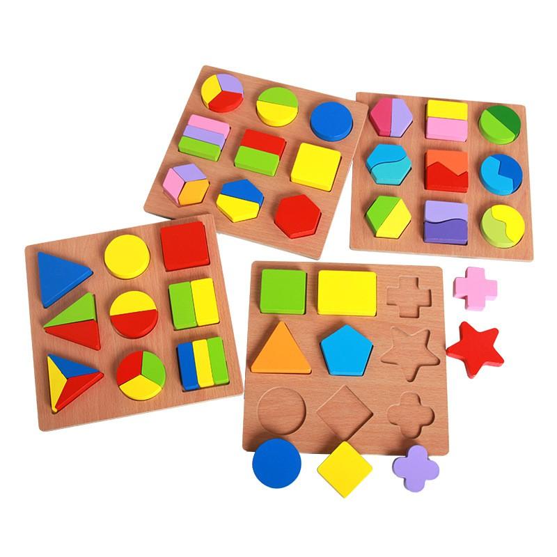 Đồ chơi Xếp Hình Khối nhiều Màu Sắc bằng gỗ