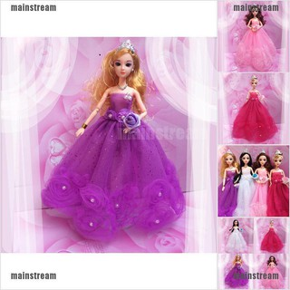 [main] Handmade Beauty Barbie Doll Wedding Party Bridal Gown Mesh Flowers Dress Clothes [stream]