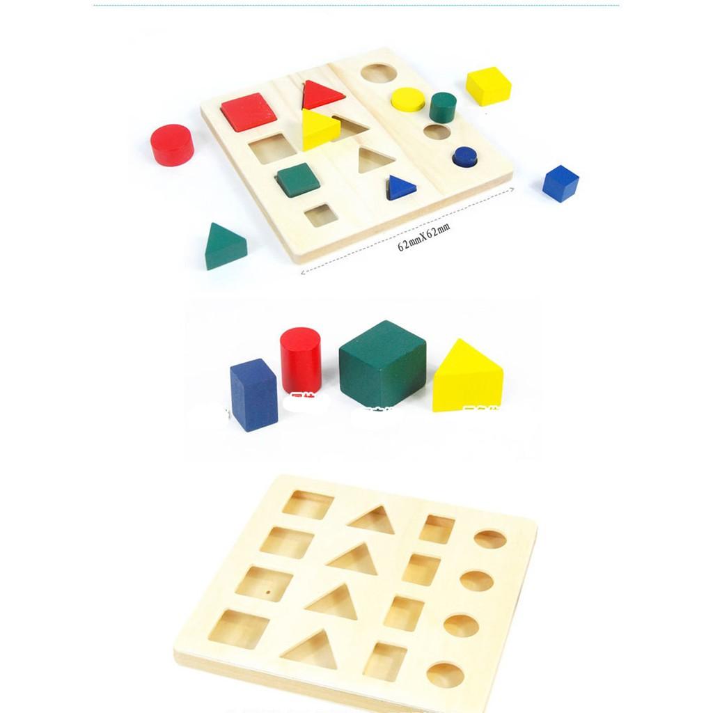 Đồ chơi gỗ- bộ 8 món hình học cảm giác quan phương pháp montessori