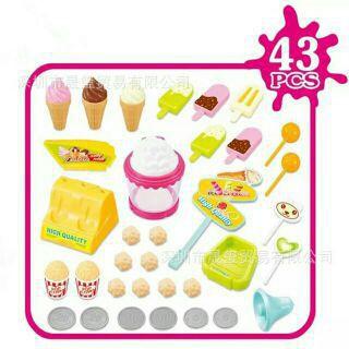 Xe kem mẫu mới – Xe đẩy bán kem, bắp rang bơ mẫu mới Có đèn, nhạc (Không kèm pin)