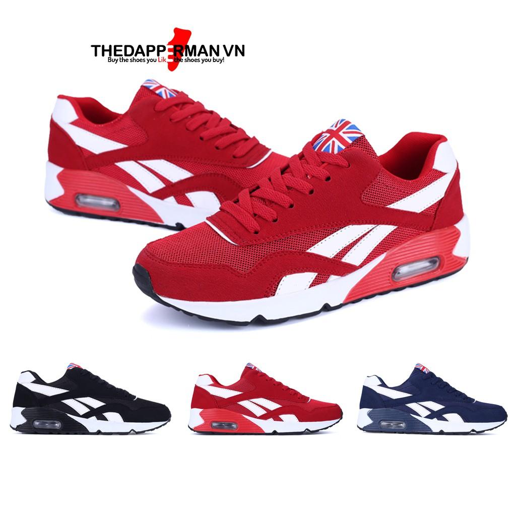 Giày thể thao nam sneaker THEDAPPERMAN TDM861 chất liệu vải kết hợp da lộn, đế cao su ma sát tốt, phù hợp chạy bộ,màu đỏ