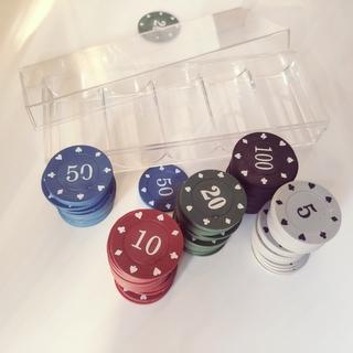 Bộ 100 chip poker có số ( phỉnh poker ) chất nhựa ABS cao cấp hình in sắc nét, có khay nhựa tặng kèm thumbnail