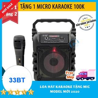 TẶNG 1 MIC KARAOKE CÓ VANG 100K] Loa Kẹo Kéo Karaoke Bluetooth Mini MH-33bt model 2021