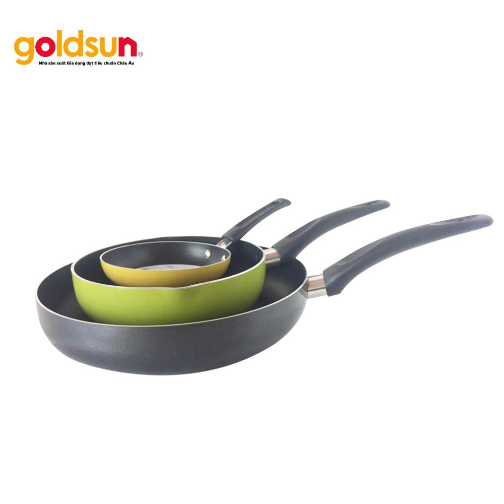 Combo 3 chảo chống dính siêu bền Goldsun 14-20-28Cm