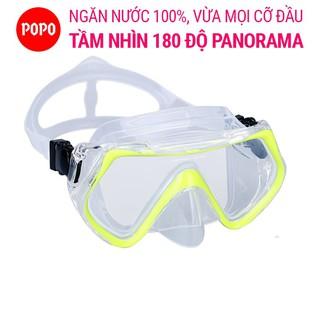 Mặt nạ lặn POPO 1526 mắt KÍNH CƯỜNG LỰC góc nhìn 180 độ, an toàn chống va đạp