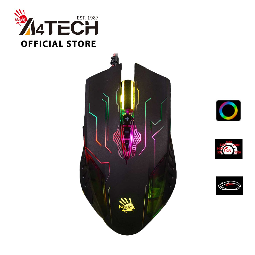 [Mã 267ELSALE hoàn 7% xu đơn 300K] Chuột Gaming A4Tech Bloody Q50 Neon X-Glide 3200 CPI 6 Phím