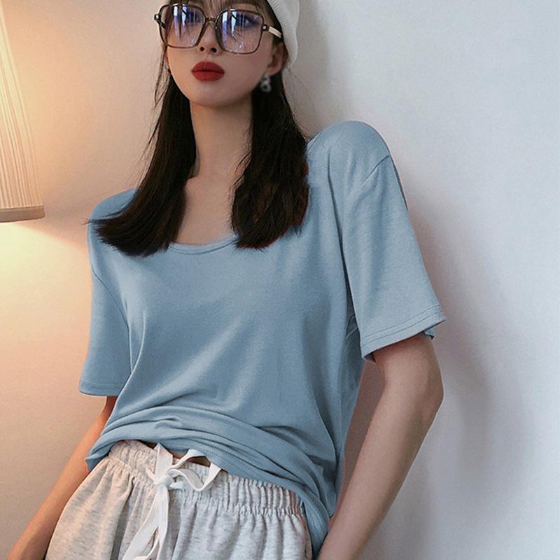 Women's Round Collar T-shirt Loose Casual Simplicity Slim Short Sleeve T-shirt