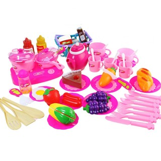 54PCS Creative Simulate Kitchen Slicing Toy Set Kid's Fruit Vegetable Cooking