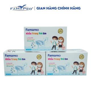 Combo 3 hộp khẩu trang y tế trẻ em kháng khuẩn 3 lớp Famapro max kid ( 50 cái hộp ) thumbnail