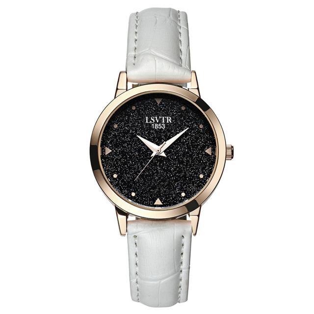 Đồng hồ nữ LSVTR dây da mặt kim tuyến LS025+ Tặng kèm pin đồng hồ