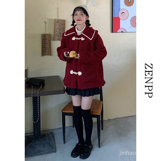 Áo Khoác Phao Cotton Viền Lông Cừu Màu Đỏ 2020 Cho Nữ