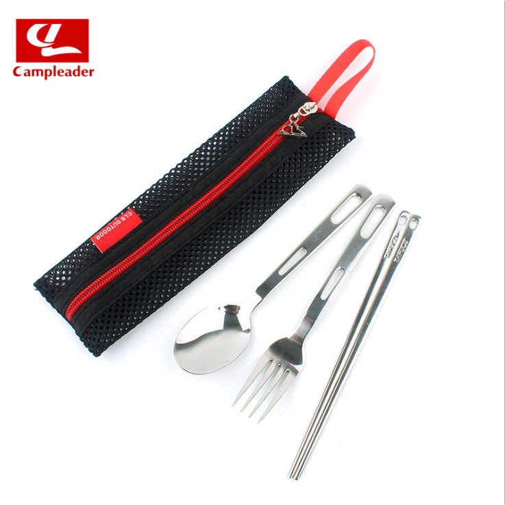 Bộ muỗng đũa nĩa inox cắm trại (có túi lưới)