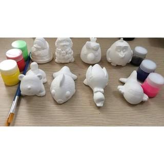Bộ Tô tượng cho bé gồm 5 tượng to+2 bút+6 màu