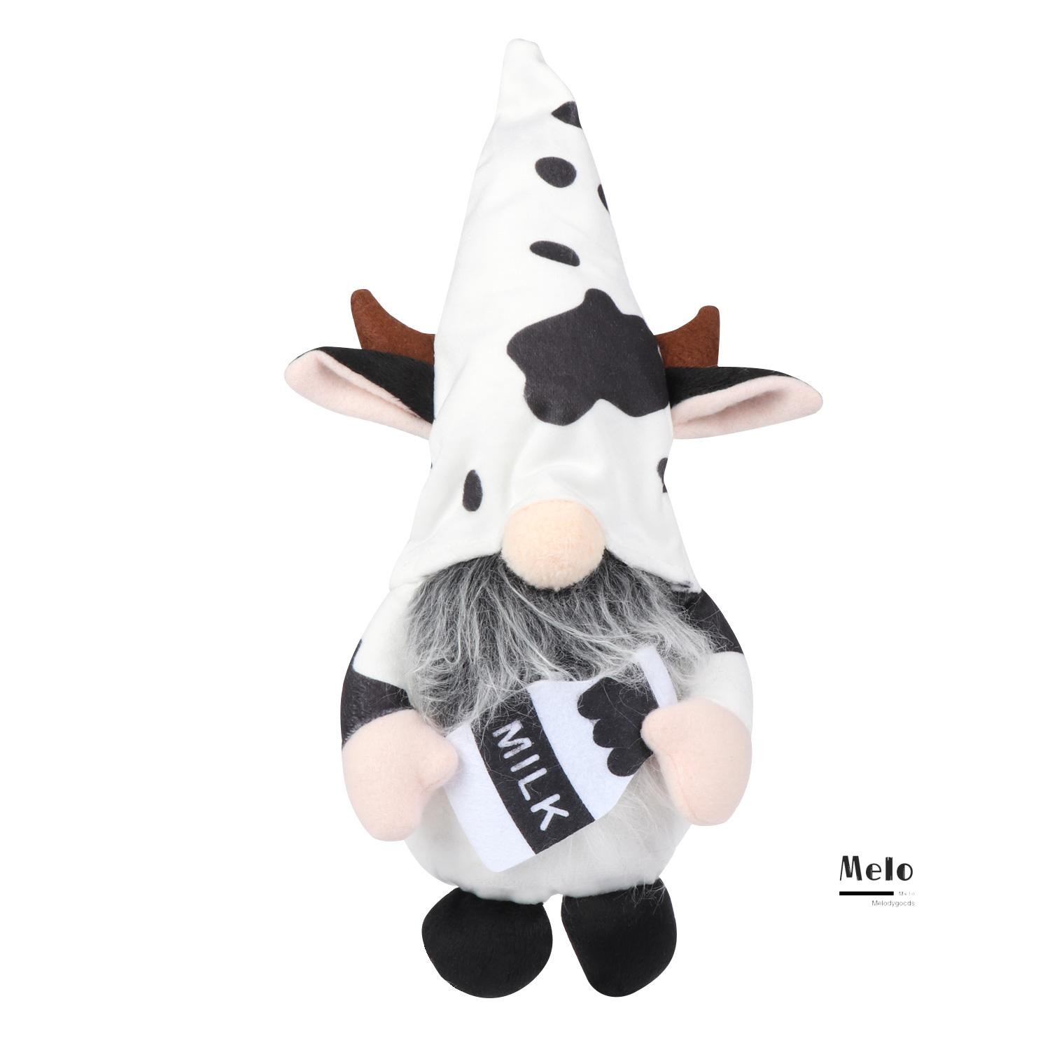 💍MELODG💍 Home&Living Gnomes Plush Outdoor Ornaments Gnomes Faceless Doll Cow Elf Cartoon Cow Garden Supplies Home Decoration Tray Display Farmhouse Decor Scandinavian Swedish