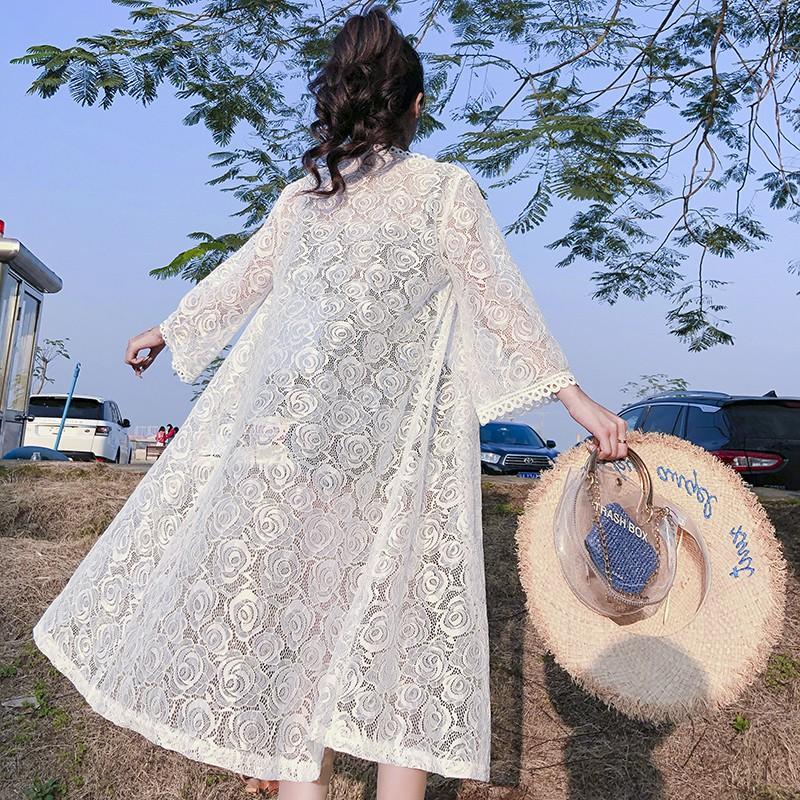 Áo khoác ren hoa dài tay chống nắng cho nữ