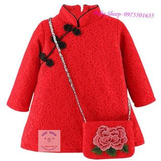 Váy ren đỏ cổ Tàu kèm túi thêu hoa xinh xắn cho bé diện Tết (Loại 1 lót nỉ ấm áp)
