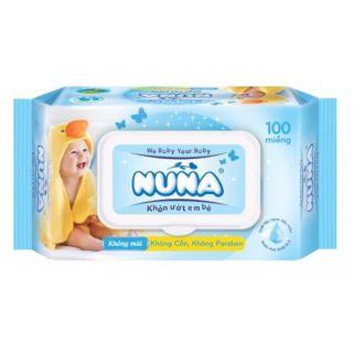 Khăn ướt Nuna 100 miếng không mùi