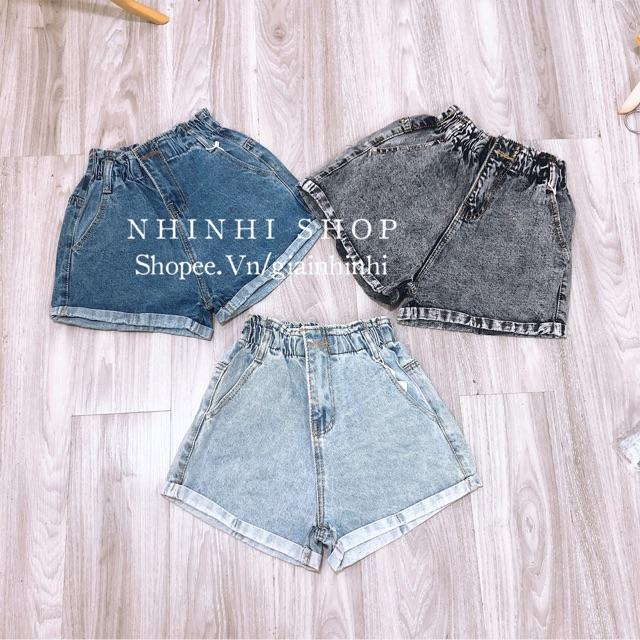 Quần short bò, Quần đùi jean nữ lưng chun - NhiNhiShop