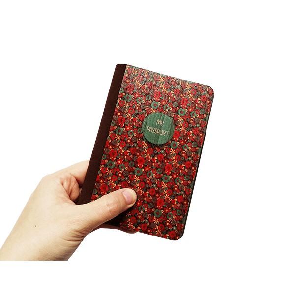 Ví đựng Passport gỗ Hoa đỏ - PC029