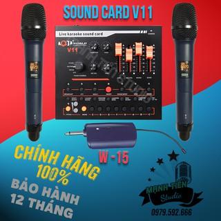 TRỌN BỘ COMBO MICRO KARAOKE W-15 + SOUND CARD V11