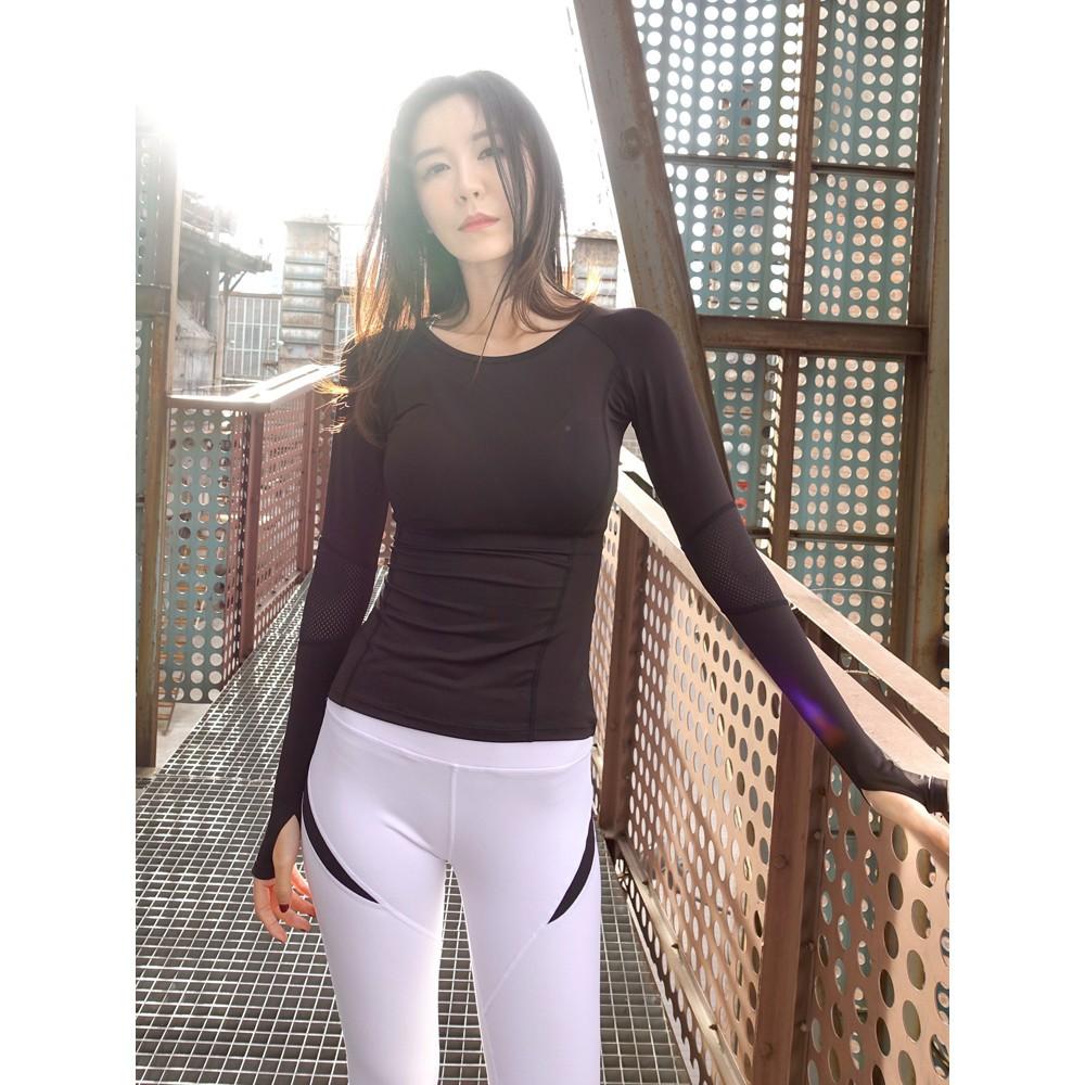 Áo dài tay thể thao nữ tập gym, yoga bodyfit vải dệt co dãn thấm hút mồ hôi màu Đen, Xanh, Hồng, Tím GYGA