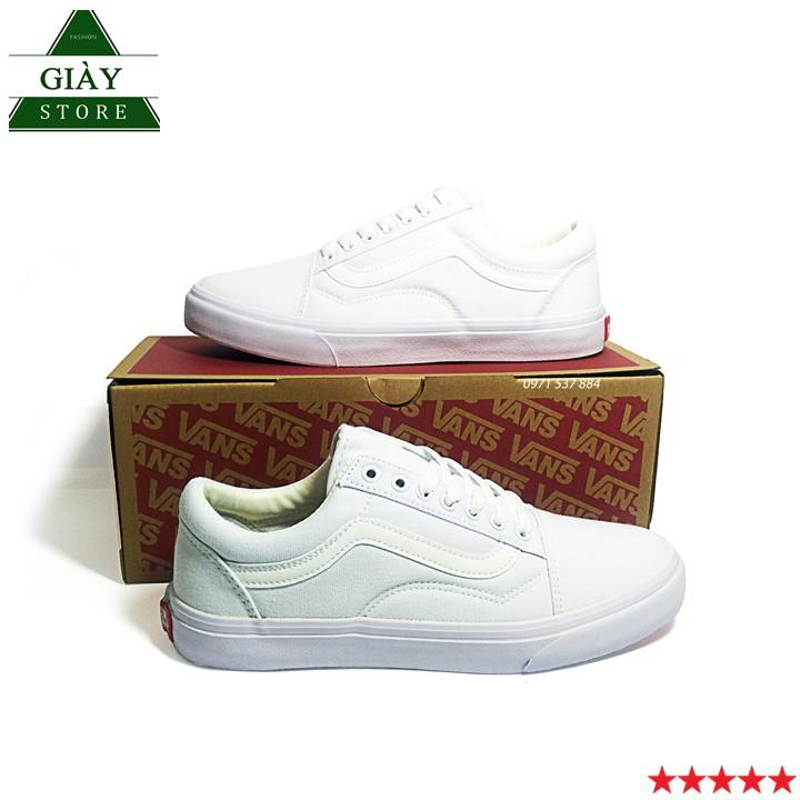 Giày Vans   Sneaker Nam Nữ Old Skool Trắng Fulll
