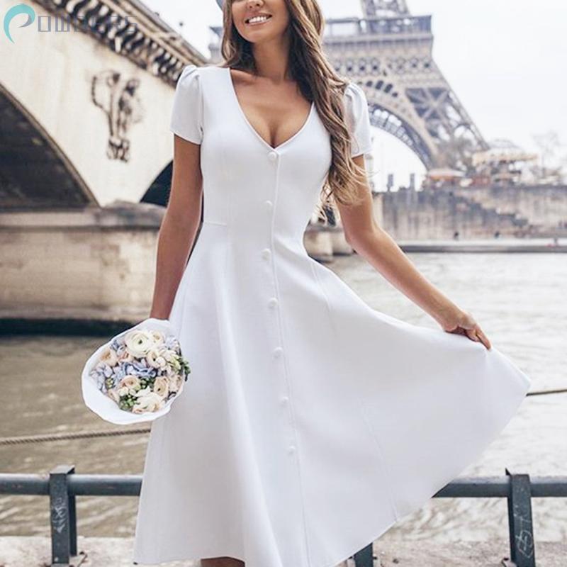Đầm dáng xòe ngắn tay phong cách trẻ trung thanh lịch dành cho nữ