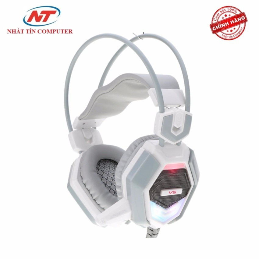 Tai nghe chụp tai cho game thủ Xiberia V6 có Rung và đèn LED (Trắng)