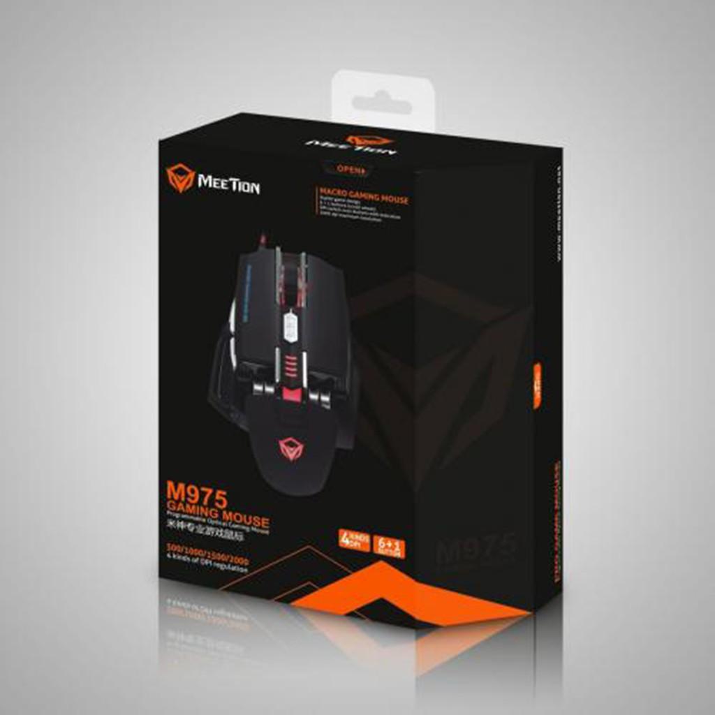 Chuột Gaming Meetion MT975 - Thiết kế cực bá cháy - Độ bền 50 triệu lượt click - Màu trắng và đen - Bảo hành 12 tháng