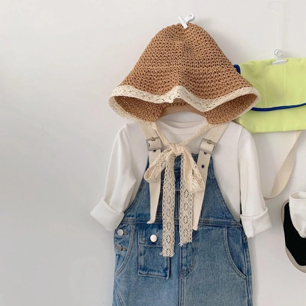 Mũ cói cho bé gái - Mũ cói đi biển cho bé từ 1-8 tuổi, có dây buộc xinh xắn dễ thương kiểu dáng Hàn Quốc MC01