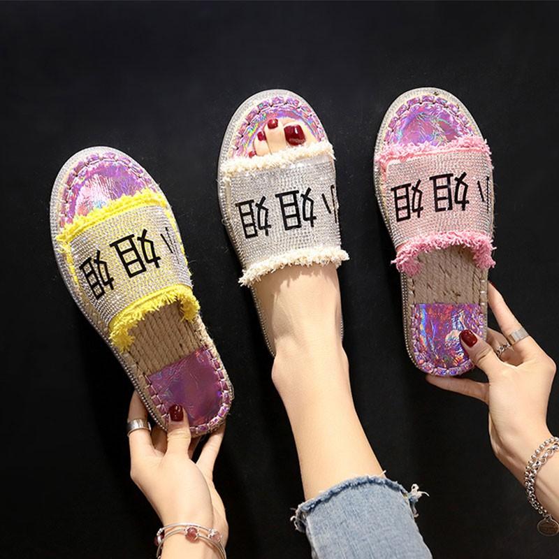 Fashion slippers female rhinestone port wind flat word drag seaside beach sandal