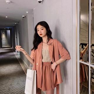 [ ORER 7-10 NGÀY] (HÀNG SẴN) Set blazers nữ cộc tay+ Quần shorts đùi giả váy màu hồng nhẹ nhàng cao cấp Hàn Quốc