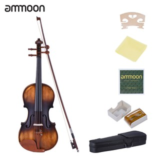 ammoon 4/4 Full Size Violin Matte-Antique Spruce Top Jujube Wood Parts(Peg and Tailpiece) with High Quality Rosin